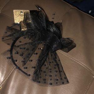 Natasha black fascinator headband
